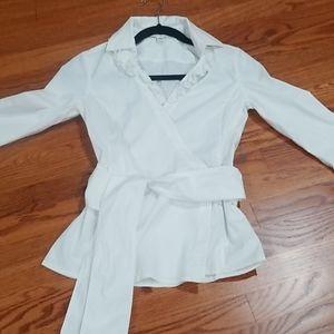 Banana Republic Women's white wrap blouse, XS